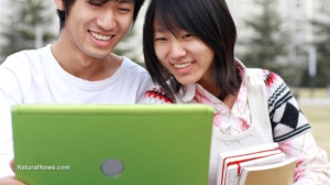 Asian-Friends-Couple-Computer-Laptop-School-Study